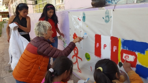 Mural Painting - everyone painted something on it!