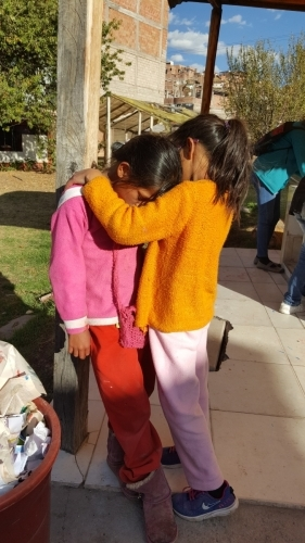 This little girl had special challenges - comforting each other