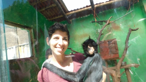 Liz gets some sweet monkey snuggles as a thank you