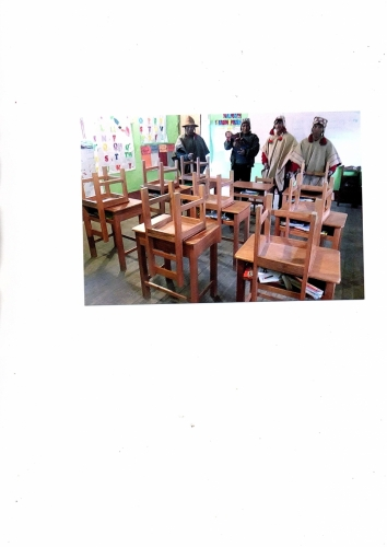 Desks and chairs provided by donations